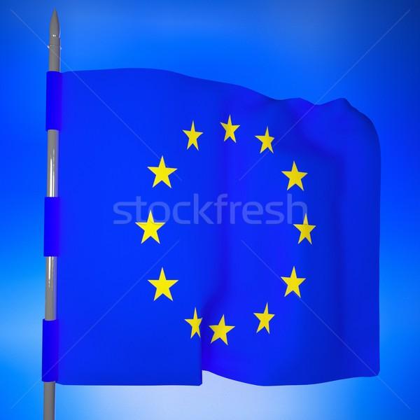 Eu banderą Błękitne niebo europejski Unii 3d Zdjęcia stock © Koufax73