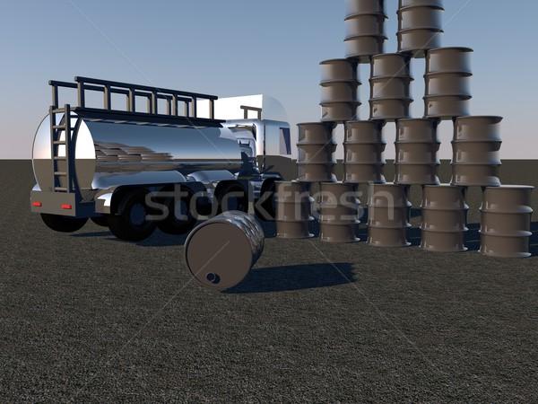 Oil barrels and tanker Stock photo © Koufax73