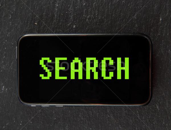 Keresés okostelefon szöveg klasszikus számítógép betűtípus Stock fotó © Koufax73