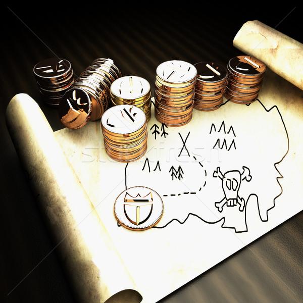 Stock fotó: Kincstérkép · arany · pénz · 3d · render · tér · kép