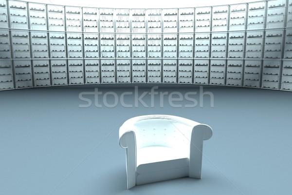 Muhteşem kütüphane beyaz deri koltuk Stok fotoğraf © Koufax73