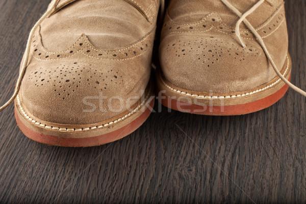 Stockfoto: Schoenen · mannelijk · bruin · houten · fitness · zomer