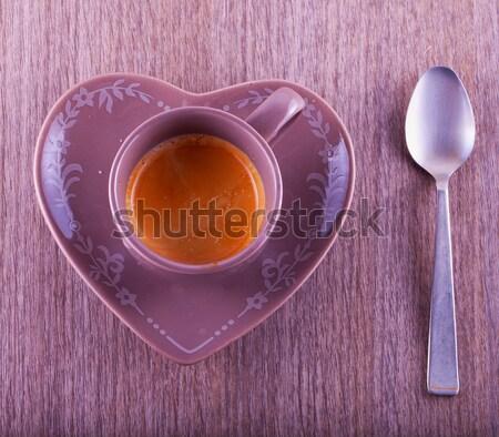 Kahve kahve fincanı kalp plaka tablo Stok fotoğraf © Koufax73