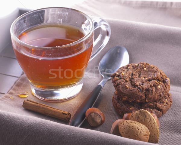 Tea kekszek diók fahéj tálca csokoládé Stock fotó © Koufax73