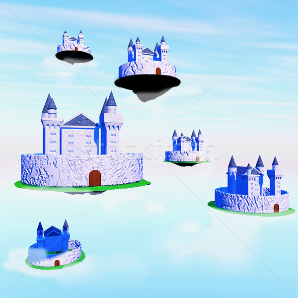城 飛行 青 曇った 空 広場 ストックフォト © Koufax73