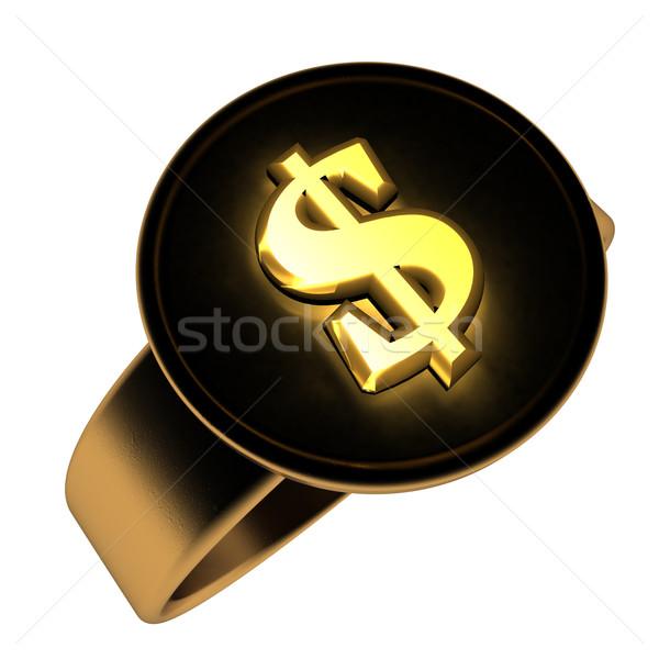 доллара кольца символ черный 3d визуализации Сток-фото © Koufax73