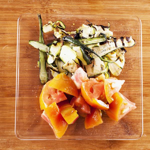 Tomates courgettes verre plaque bois carré Photo stock © Koufax73