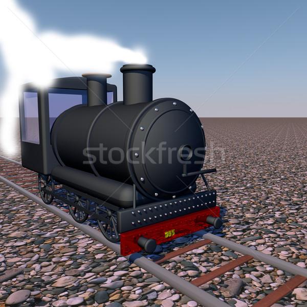 Foto stock: Vapor · tren · caminando · 3d · cuadrados · imagen