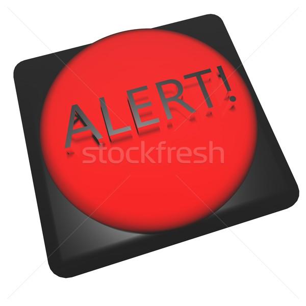 Uyarmak kelime kırmızı düğme 3d render yangın Stok fotoğraf © Koufax73