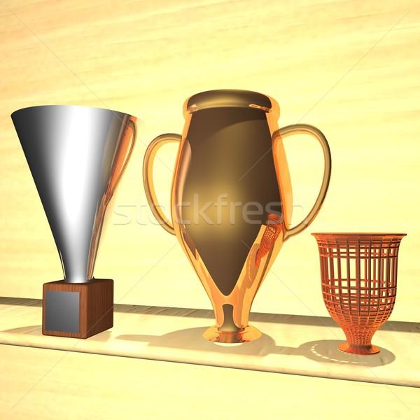 Trófea szoba három csészék polc 3d render Stock fotó © Koufax73
