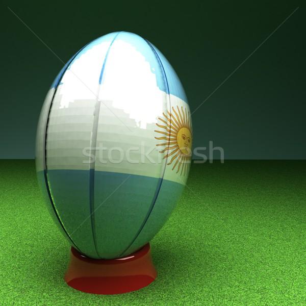 Argentina rugby pelota de rugby bandera hierba verde campo Foto stock © Koufax73