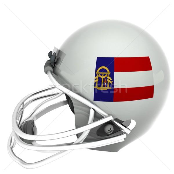 Georgia futbol bayrak kask 3d render yalıtılmış Stok fotoğraf © Koufax73