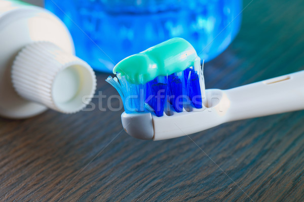 Toothbrush, toothpaste and mouthwash Stock photo © Koufax73