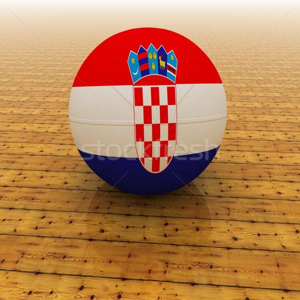 Hırvatistan basketbol bayrak 3d render kare görüntü Stok fotoğraf © Koufax73