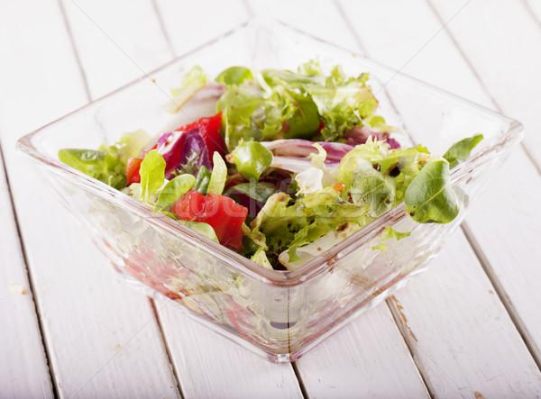 サラダ ガラス カップ トマト 水平な 画像 ストックフォト © Koufax73