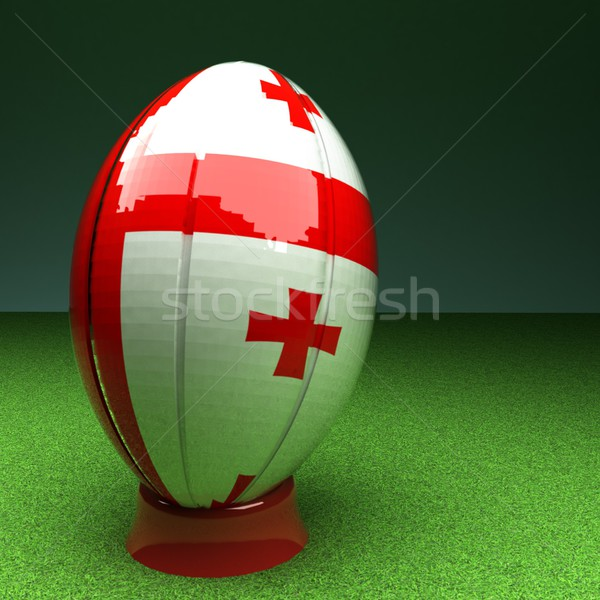 Georgia rugby pelota de rugby bandera hierba verde campo Foto stock © Koufax73