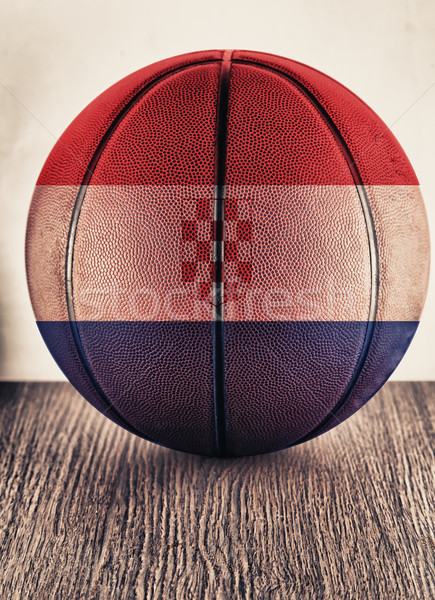 Croatie basket vieux cuir pavillon Photo stock © Koufax73