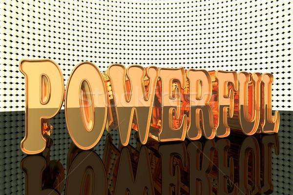 Krachtig woord goud lichten 3d render man Stockfoto © Koufax73
