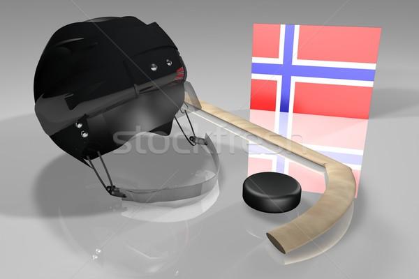 Noruega hockey bandera casco palo superficie Foto stock © Koufax73