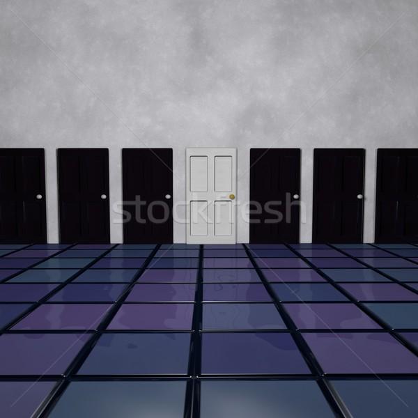 Fehér ajtó sok fekete ajtók 3d render Stock fotó © Koufax73
