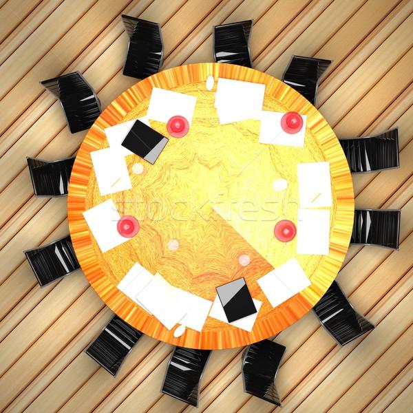 конференц-зал таблице 3d визуализации квадратный изображение Сток-фото © Koufax73