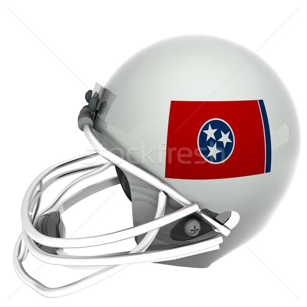 Louisiana flag over football helmet, 3d render, square image, isolated over white Stock photo © Koufax73