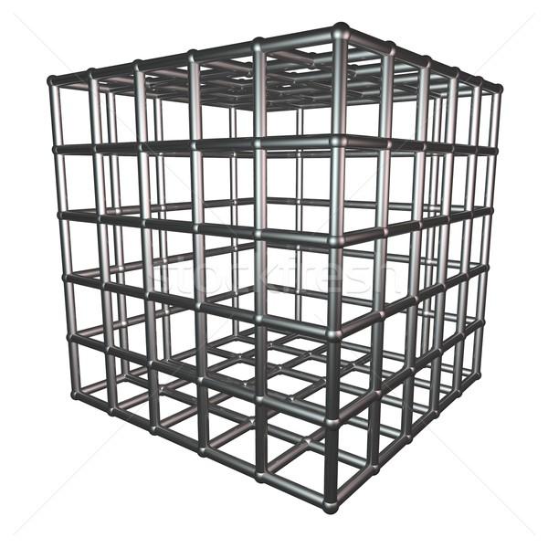 металлический клетке изолированный белый 3d визуализации блокировка Сток-фото © Koufax73