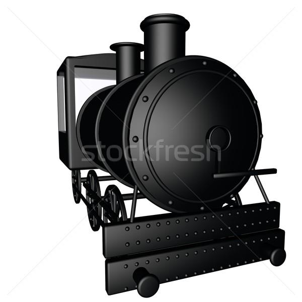 Сток-фото: пар · поезд · черный · изолированный · белый