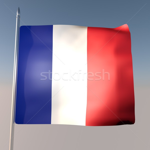 Francja banderą Błękitne niebo 3d placu obraz Zdjęcia stock © Koufax73