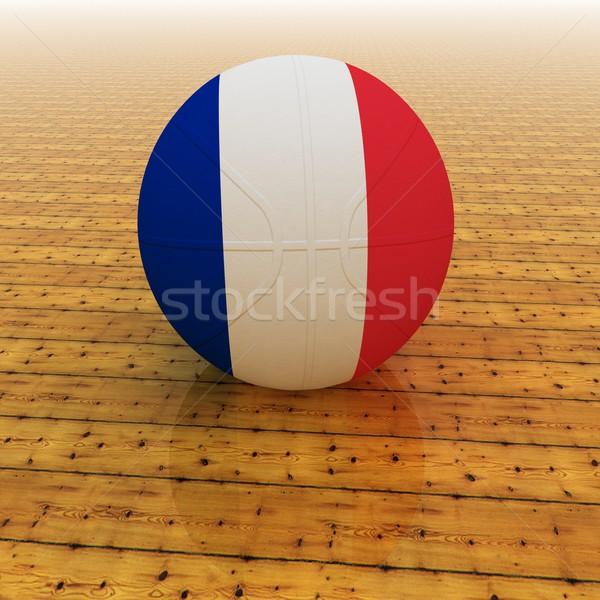 フランス バスケットボール フラグ 3dのレンダリング 広場 画像 ストックフォト © Koufax73