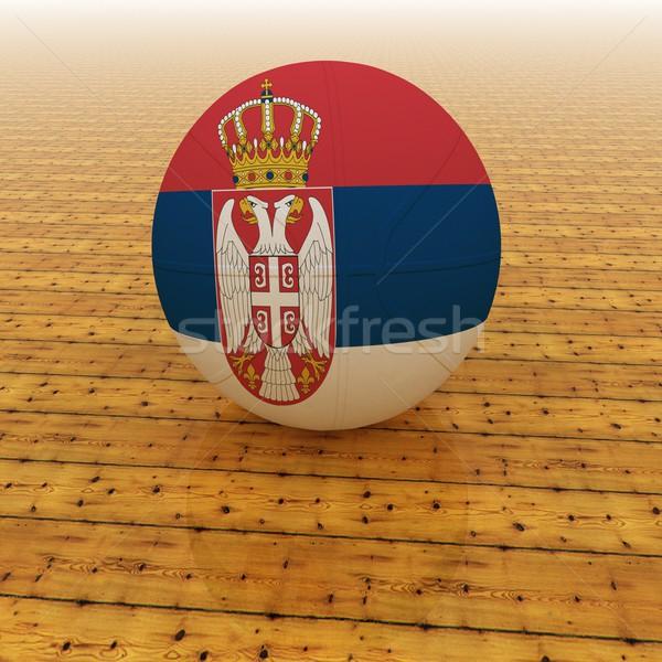 セルビア バスケットボール フラグ 3dのレンダリング 広場 画像 ストックフォト © Koufax73