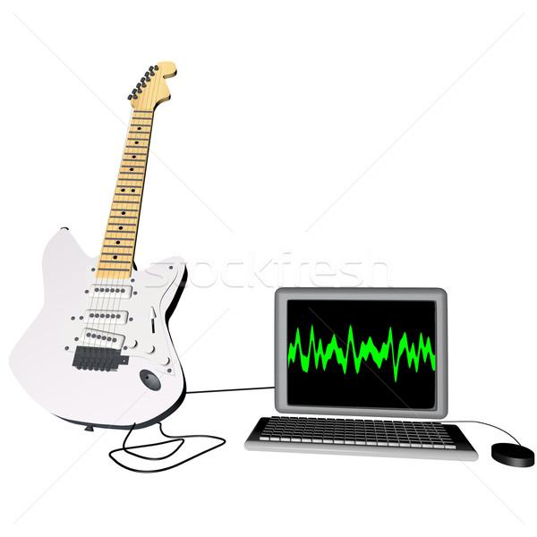 Gitar dizüstü bilgisayar elektrogitar 3d render bilgisayar müzik Stok fotoğraf © Koufax73