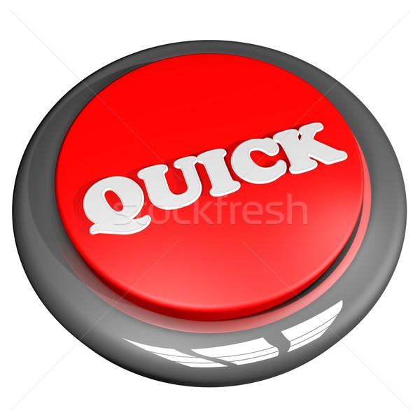 クイック ボタン 孤立した 白 3dのレンダリング 広場 ストックフォト © Koufax73