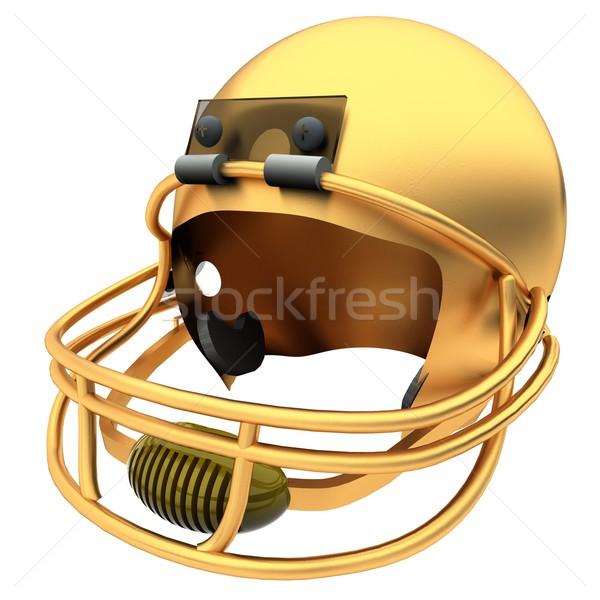 Or football casque isolé blanche rendu 3d Photo stock © Koufax73