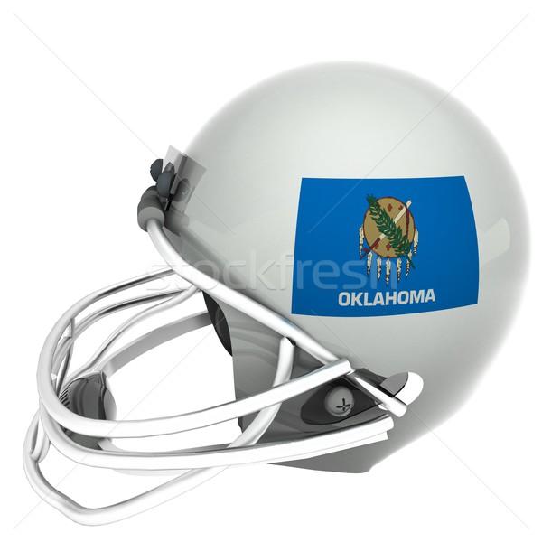 Oklahoma futebol bandeira capacete 3d render praça Foto stock © Koufax73