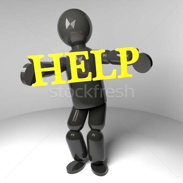 Aider marionnette 3D mot ouvrir bras Photo stock © Koufax73