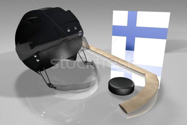 Finlândia hóquei bandeira capacete vara superfície Foto stock © Koufax73