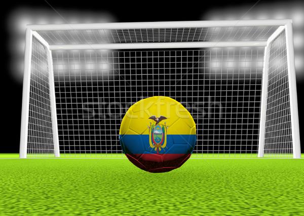 Voetbal Ecuador vlag voetbal net 3d render Stockfoto © Koufax73