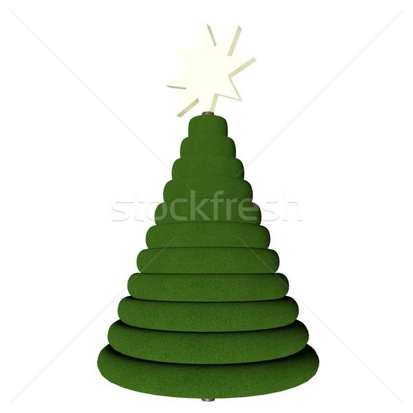 Arbre de noël blanche rendu 3d arbre fond vert Photo stock © Koufax73