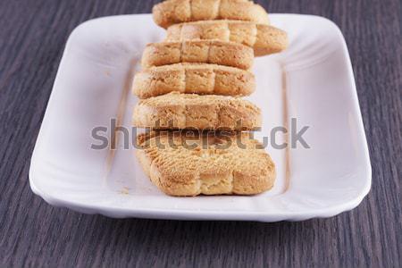 Kekszek áll üveg fából készült függőleges kép Stock fotó © Koufax73