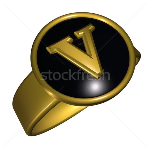 Mektup siyah altın halka 3d render kare Stok fotoğraf © Koufax73