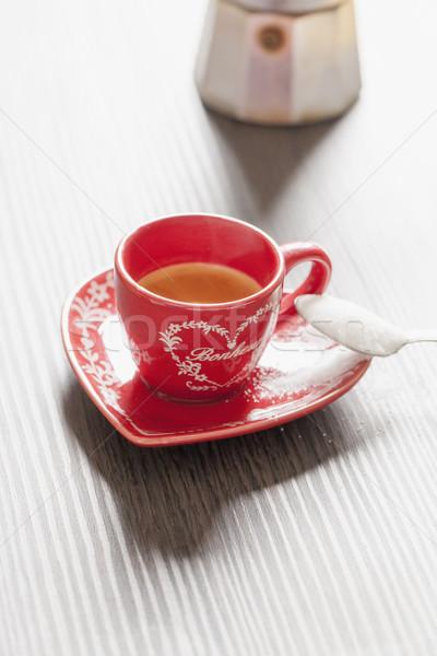 コーヒー 赤 カップ スプーン フル 砂糖 ストックフォト © Koufax73