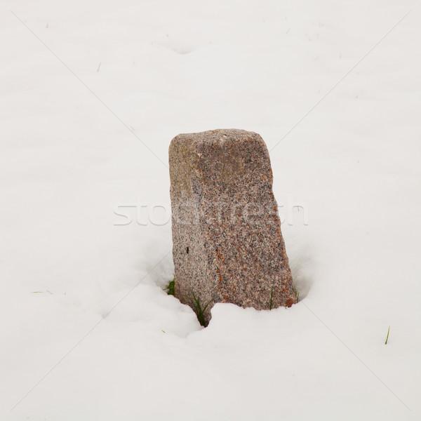 Milestone in the snow Stock photo © Koufax73