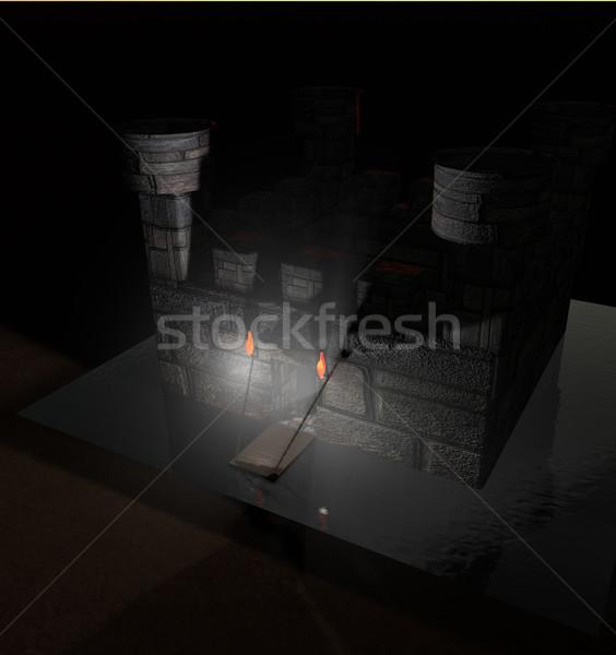 каменные замок темноте 3d визуализации здании стены Сток-фото © Koufax73