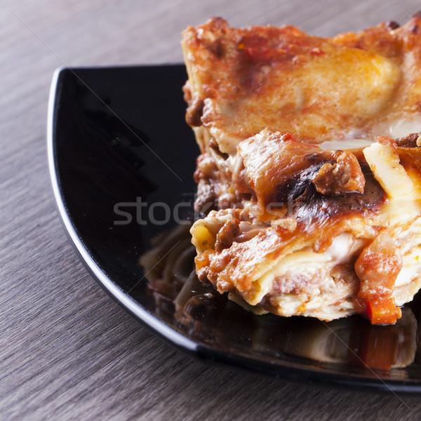 Stock fotó: Lasagne · fekete · tányér · közelkép · bor · háttér