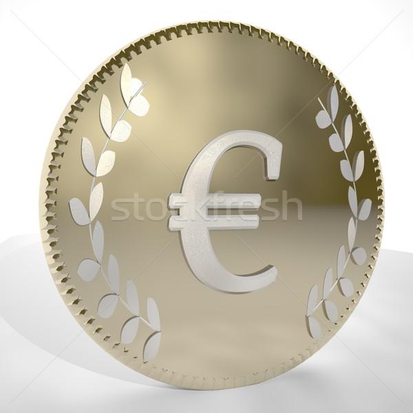 ユーロ シンボル コイン 3dのレンダリング 広場 ストックフォト © Koufax73