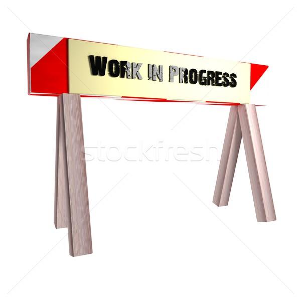 Trabalhar progresso isolado branco 3d render praça Foto stock © Koufax73