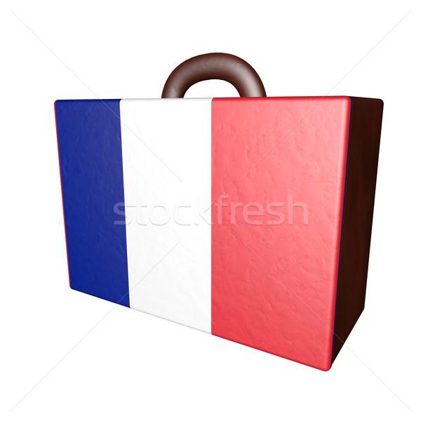 Fransa bavul deri bayrak yalıtılmış beyaz Stok fotoğraf © Koufax73