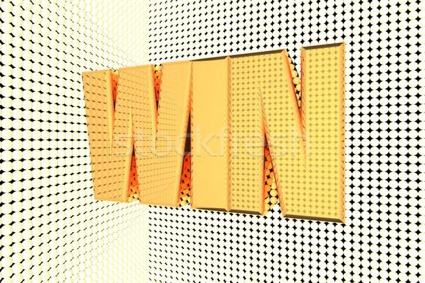 Győzelem szó arany megvilágított 3d render üzlet Stock fotó © Koufax73