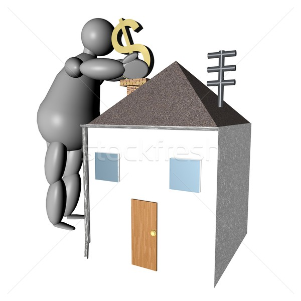 3D puppet putting dollars in the house Stock photo © Koufax73